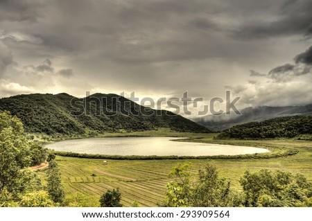 The scenic Rhi Lake near the Indian border in Chin Stae, Myanmar (Burma) - stock photo