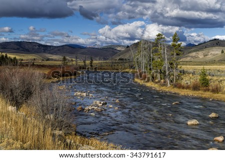 The scenic Salmon River near Stanley, Idaho.