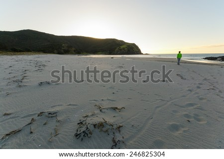 The scenic sandy beach of Cape Reinga in the Far North, New Zealand. One tourist walking in winter season at sunset. Shot in backlit, cold tones. Concept of free travelling. - stock photo