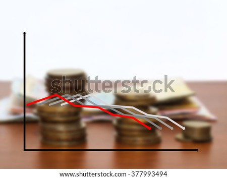 The schedule from four multi-colored lines against coins, with copy text, copy space. Indistinct background with money and four color lines of the schedule in the foreground. - stock photo