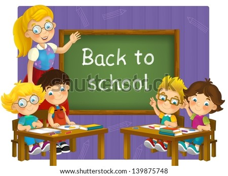 The school - education - illustration for the children - stock photo