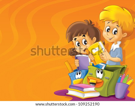 The school time - space for text - cheerful and smiling students - illustration for the children 2 - stock photo