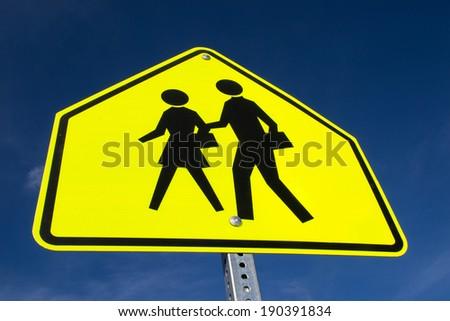 The school zone sign. - stock photo