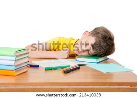 the schoolboy fell asleep on the Desk - stock photo