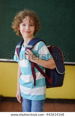The schoolboy stands in the class near a board. Behind shoulders at it a school backpack. The school student looks in the camera and smiles. The boy has blond curly hair and blue eyes