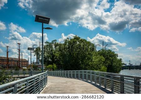 The Schuylkill Banks Boardwalk, in Philadelphia, Pennsylvania. - stock photo