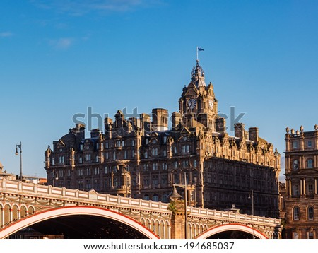 The Scotsman Hotel with the North Bridge at the front. Edinburgh, Scotland, UK