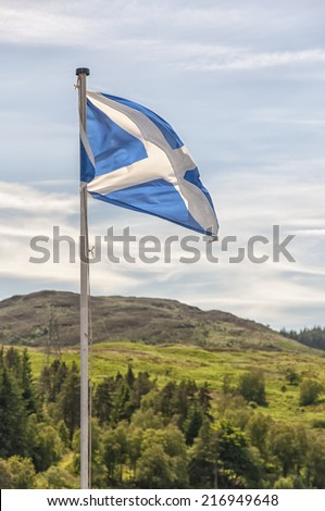 The Scottish flag blows in the wind as Scotland gets ready to vote for independence from the UK. - stock photo