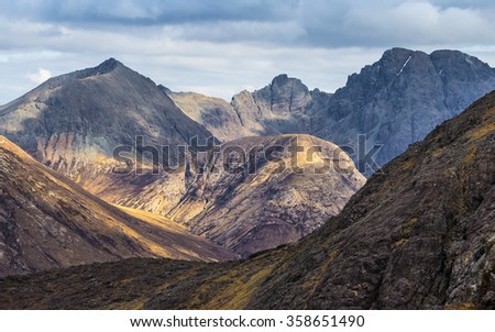 The Scottish Highlands. Detailed photo of the Cuillin mountains on a cloudy day - Isle of Skye, Scotland, UK - stock photo