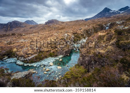 The Scottish Highlands. River Sligachan and the Cuillins on a cloudy afternoon - Isle of Skye, Scotland, UK - stock photo