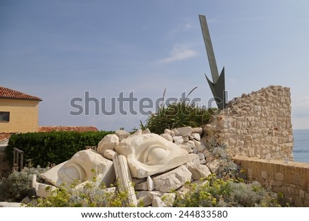 The sculpture composition in Antibes, France - stock photo