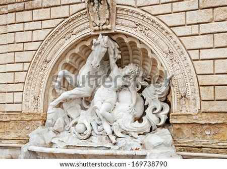 """The sculpture group at the park """"Parco della Montagnola"""" of Bologna in Italy - stock photo"""