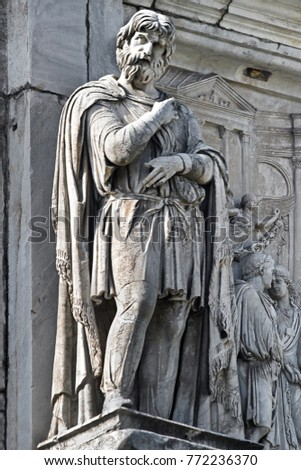 The sculpture which is on the top part of the Arch of Konstantin, Rome, Italy