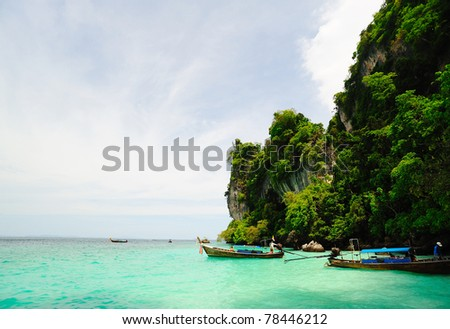 The sea and cliff at  Phi Phi Leh  Thailand - stock photo