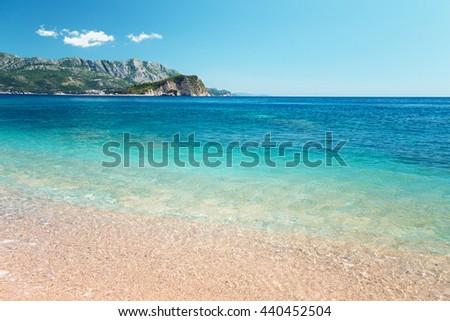 The sea and the coastline, Budva, Montenegro, Adriatic Sea, Mediterranean Sea. - stock photo