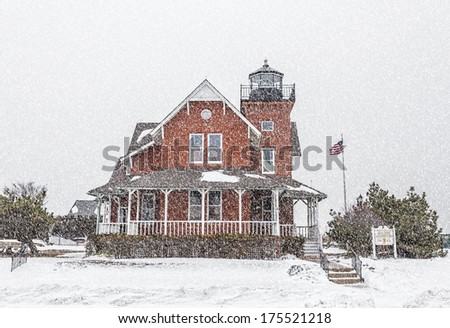 The Sea Girt Lighthouse in Sea Girt, New Jersey, USA. This lighthouse flashed its first light December 10, 1896. - stock photo