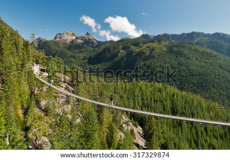 The Sea to Sky Gondola's Sky Pilot suspension bridge, Squamish, British Columbia, Canada - stock photo