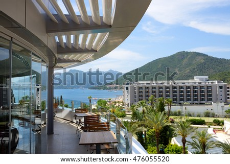 The sea view terrace at luxury hotel, Marmaris, Turkey