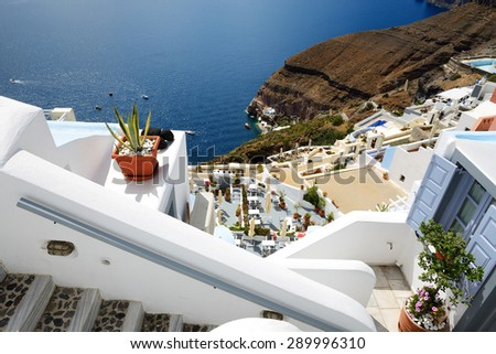 The sea view terrace at luxury hotel, Santorini island, Greece - stock photo