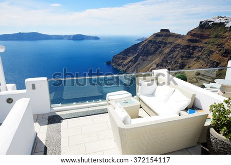 The sea view terrace, Santorini island, Greece