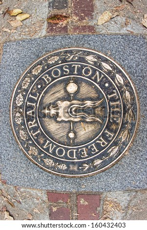The Seal of the Freedom Trail in Boston, Massachusetts, USA.