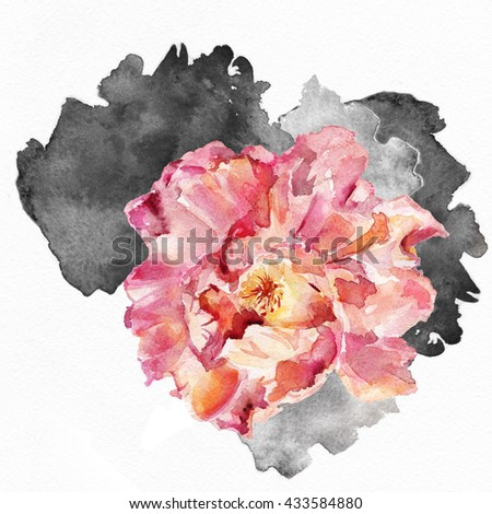 The seamless exotic background drawn  water color paints Picturesque drawing brush.Watercolor background. Tropical drawing fabric.Color llustration  flowers iwatercolor paintings.  Rose. Pink flower,  - stock photo