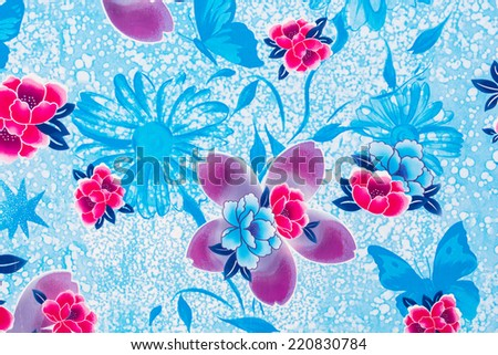 the seamless stylish floral pattern on the blue color background - stock photo