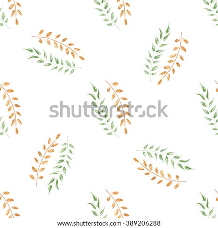The Seamless Watercolor Pattern of Leaves. Flower Hand-drawn Pattern. Foliage green and yellow pattern on the white elegant background. Background for your design projects. - stock photo