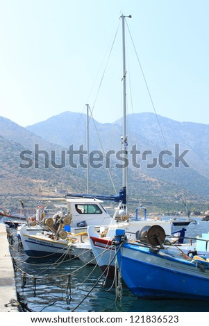 The seaport in Crete with fishing boats