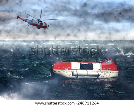 The search for the lost lifeboat - sea rescue mission. - stock photo