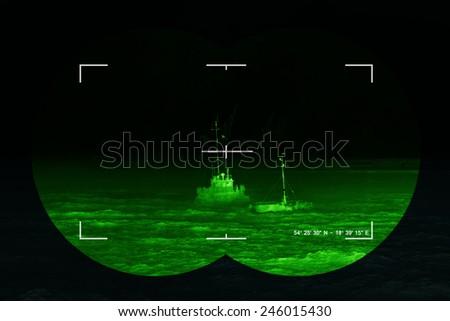 The search for the lost ship - sea rescue mission, Concept Photo. - stock photo
