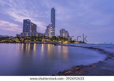 The seaside town and landscape lighting and a beautiful beach at Pattaya .
