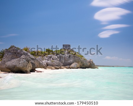 The seaside view of the Castle at Tulum, Atlantic Ocean, Mexico - stock photo