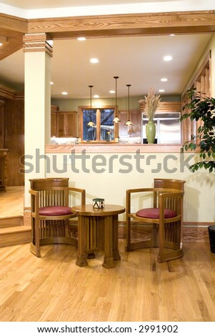 The seating area of the interior of a home. - stock photo