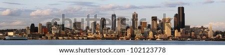The Seattle skyline at dusk - stock photo