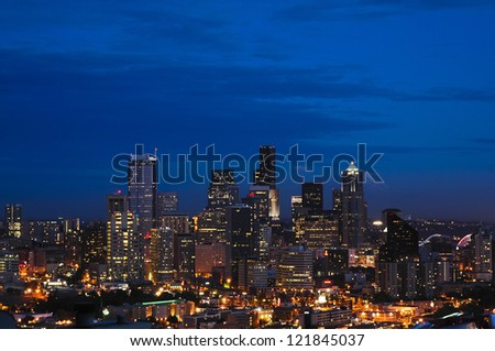 The Seattle skyline at dusk seen from up high