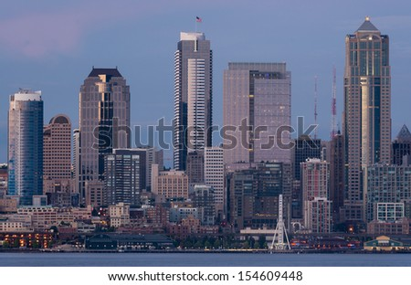 The Seattle skyline viewed from Alki Beach Park in Seattle, Washington - stock photo