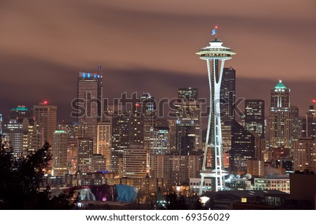 The Seattle, Washington skyline at night.