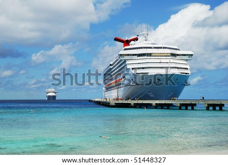 The second cruise liner arriving to Grand Turk island (Turks & Caicos). - stock photo