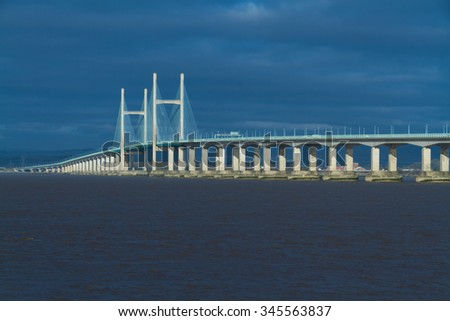 The Second Severn crossing is a bridge that carries the M4 motorway over the Bristol Channel or River Severn Estuary between England and Wales, United Kingdom. Morning light from East.