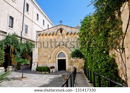 The second station of the Via Dolorosa-the Church of the flagellation (Jerusalem) - stock photo
