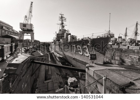 The second world war battleship cassin young in a dry doc in Charlestown, Massachusetts, USA. - stock photo