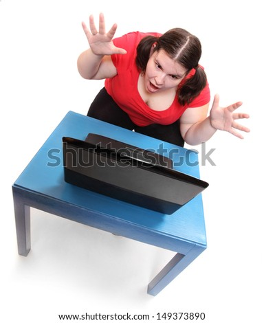 The secretary. Funny picture from the office.  - stock photo