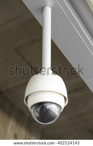 The security camera in the skytrain station platform - Selective Focus