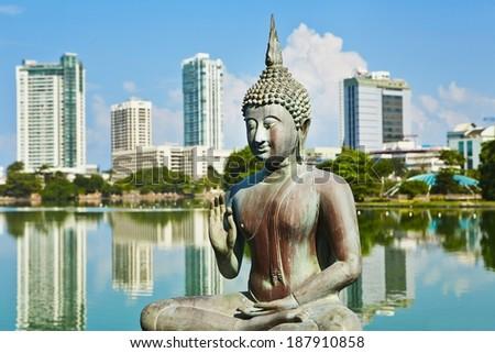 The Seema Malaka Temple - Gangaramaya in Colombo  - stock photo