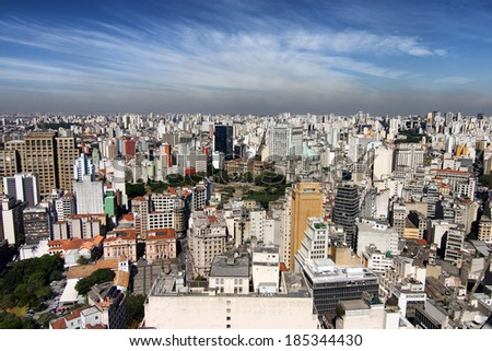 The seemingly endless buildings of Sao Paulo Brazil - stock photo