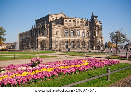 the semeper opera with flowers in city Dresden - Germany