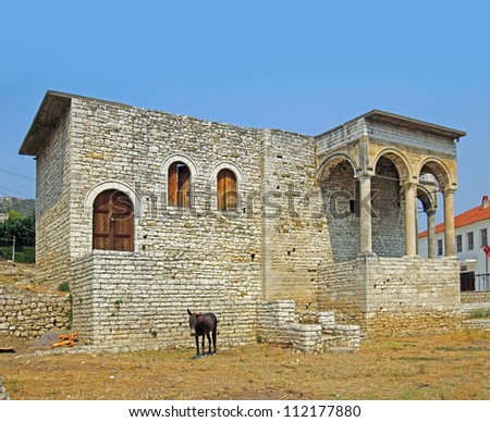 The serai or palace of the Pasha of Berat, sout view, Berati, Albania, World Heritage Site by UNESCO - stock photo