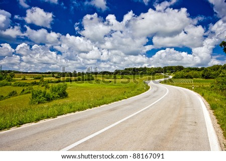 The serpentine and landscape of Istrian inland - stock photo