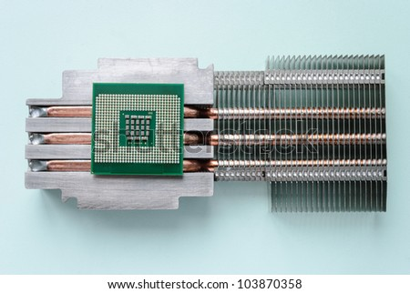 The server processor, heat sink mounted on passive cooling. Horizontal layout. - stock photo
